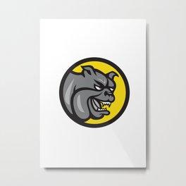 Angry Bulldog Head Circle Cartoon Metal Print