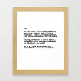 Anonymous Letter To Sammi Sweetheart Jersey Shore Framed Art Print