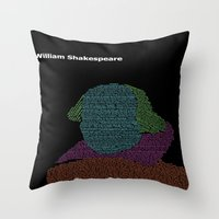 shakespeare Throw Pillows featuring William Shakespeare by Jamie Carroll
