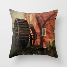 The Old Mill Wheel Throw Pillow