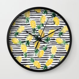 fresh pineapples on stripes watercolor Wall Clock