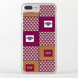 African Fabric diamon chevron yellow pink purple plaid Clear iPhone Case