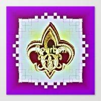 fleur de lis Canvas Prints featuring Fleur De Lis Purple  by Tina Vaughn
