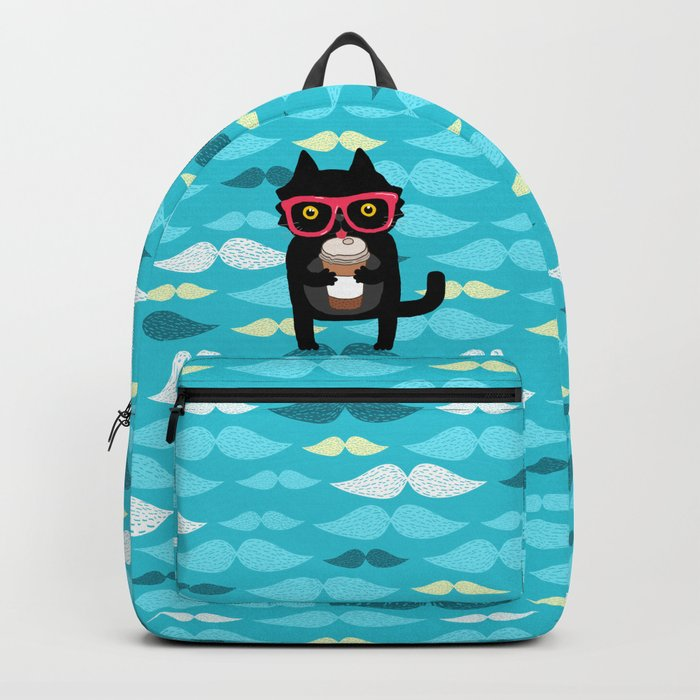 Black cat + coffee Backpack