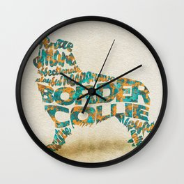 The Border Collie Dog Typography Art / Watercolor Painting Wall Clock