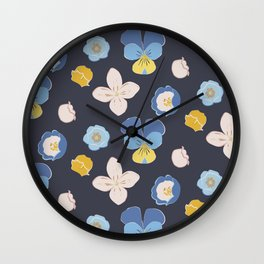 Spring Buds_charcoal blue Wall Clock