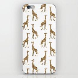 Gold Glitter Giraffe Pattern iPhone Skin