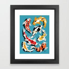 Colorful Koi Carps Swimming Around Framed Art Print