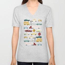 Beep Beep! Cars and Trucks Traffic Pattern Unisex V-Neck