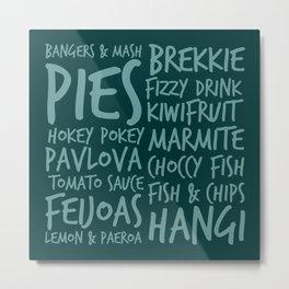 New Zealand Food - Kiwi Treats Pies, Pavlova, Kiwifruit, Marmite, Fish & Chips Metal Print
