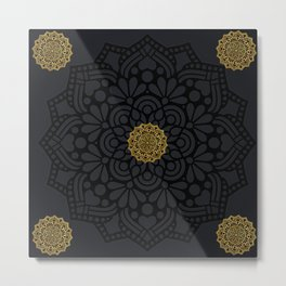 """Black & Gold Arabesque Mandala"" Metal Print"