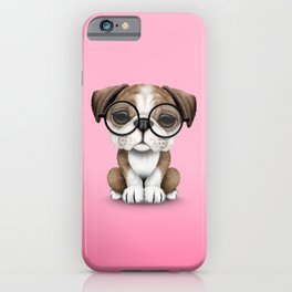 Cute English Bulldog Puppy Wearing Glasses on Pink iPhone Case
