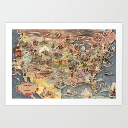 History of America Pictorial State map of Historical Events landscape painting by Aaron Bohrod Art Print