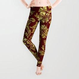 Red & Gold Floral Damasks Pattern Leggings