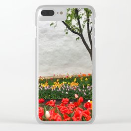 Tulips and a tree Clear iPhone Case