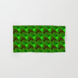 Volumetric grid of emerald squares with black cores of stripes and chaos of shadows.  Hand & Bath Towel