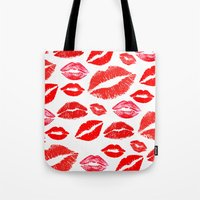 lips Tote Bags featuring Lips by deff