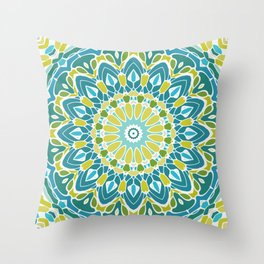 Beach Blue and Lime Green Mandala Throw Pillow