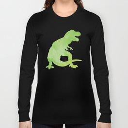 Watercolor Dinosaur Pattern White Green Blue Long Sleeve T-shirt