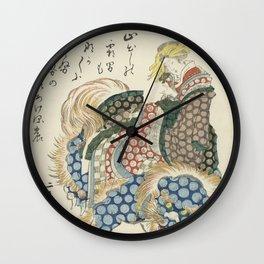 Courtisane riding on a shishi Wall Clock