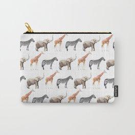 Animals, Elephant, Giraffe, Zebra, Zoo, Kids, Nursery, Minimal, Pattern, Modern art Carry-All Pouch
