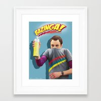 bazinga Framed Art Prints featuring Sheldon  - BAZINGA! by ShannonPosedenti