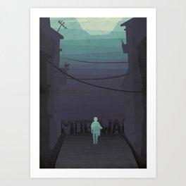 Night walk with Mogwai Art Print