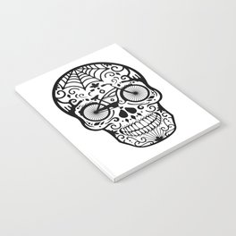 Vintage Mexican Skull with Bicycle - black and white Notebook