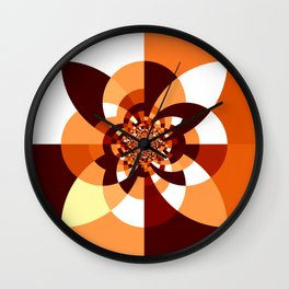 Orange Brown Cream Kaleidoscope Wall Clock