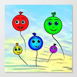 Happy colorful balloons flying in the sky Canvas Print