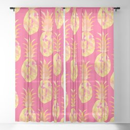 bright summery fruity pineapples pattern print design Sheer Curtain