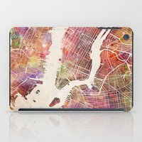 new york map iPad Cases featuring New York Map Watercolor by Map Map Maps