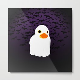 Fuzzy Duck Ghost Metal Print