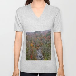 Fall Forest, Vertical Unisex V-Neck