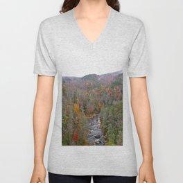 Fall Forest, Vertical Unisex V-Neck