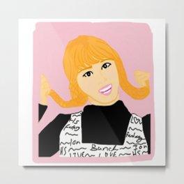 Knock Knock! Momo Pink Metal Print