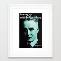 fitzgerald Framed Art Prints featuring Francis Scott Fitzgerald by Guido prussia