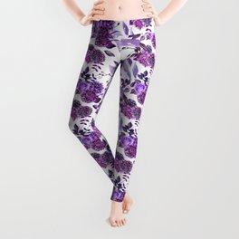 Purple floral pattern. Watercolor lilac flowers illustration. Violet botanical art. Gift for her Leggings