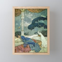 Princess Lady Yang at Midnight with white Peacocks portrait painting by Edmund Dulac Framed Mini Art Print
