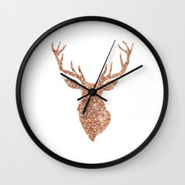 Sparkling reindeer blush gold Wall Clock