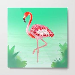 Tropical Flamingo Metal Print
