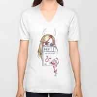 sky ferreira V-neck T-shirts featuring Sky Ferreira by Ash Tarek