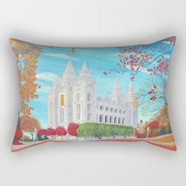 Salt Lake City, Utah LDS Temple in Autumn Rectangular Pillow