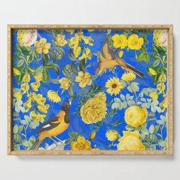 Vintage & Shabby Chic - Night Blue Botanical Bird and Flower Garden Serving Tray