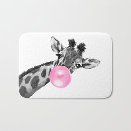 Bubble Gum Black and White Sneaky Giraffee Bath Mat