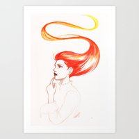 redhead Art Prints featuring Redhead by AndytheLemon