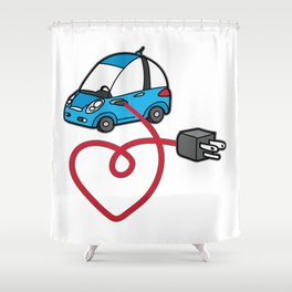 THE SILENCE OF THE FUTURE Electric Car Shower Curtain