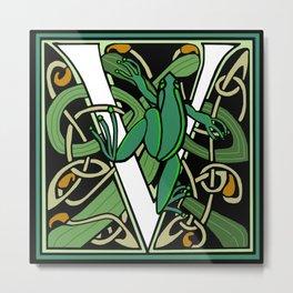 Celtic Nouveau Frog Letter V 2018 Metal Print