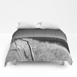 Sailing in the wind through the waves, Boat, Black and White photography #Society6 Comforters