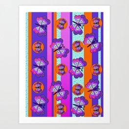 Butterfly Stripe Print Art Print